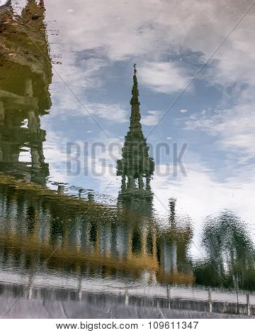 reflection of temple in water surface
