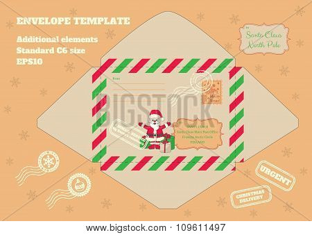 envelope For Letter To Santa_santa With Gifts