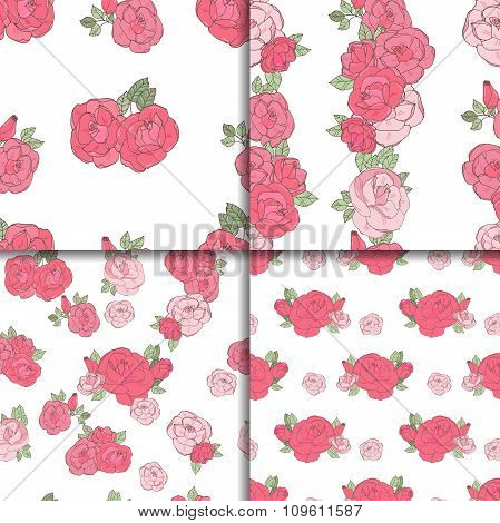 Set of four seamless floral patterns.