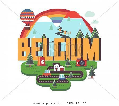 Belgium in europe is a beautiful country to visit. vintage vector illustration.
