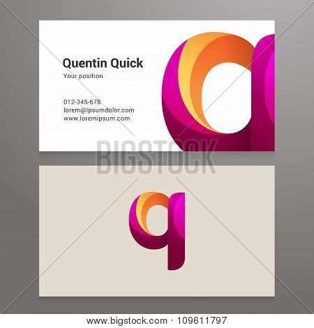 Modern Letter Q Twisted Business Card Template