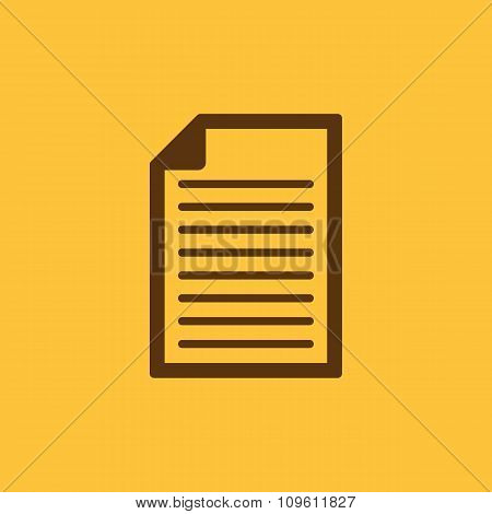 The document icon. Notes symbol. Flat