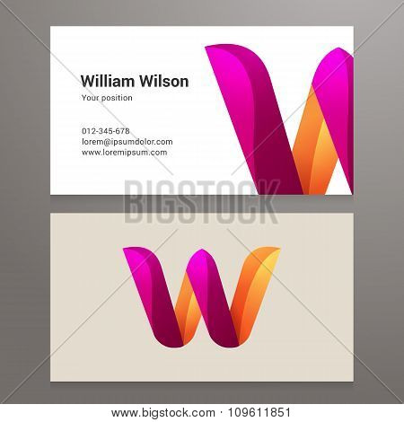 Modern Letter W Twisted Business Card Template