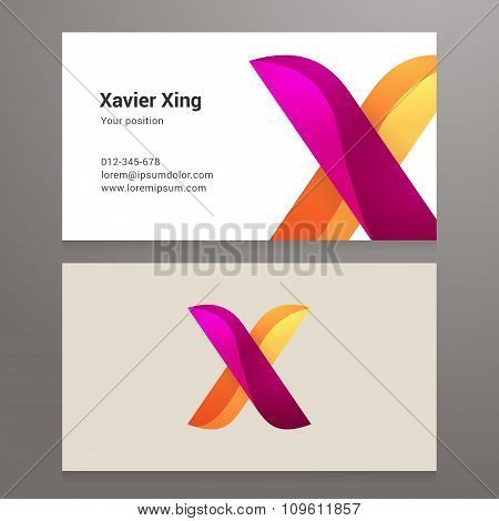 Modern Letter X Twisted Business Card Template