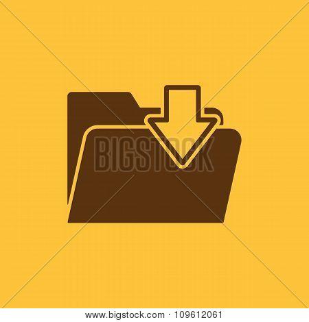 The folder icon. File download symbol. Flat