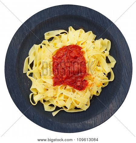 Tagliatelle with tomato sauce in wooden plate shot from above, isolated