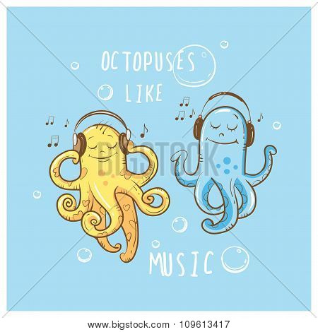 Card With Octopuses.