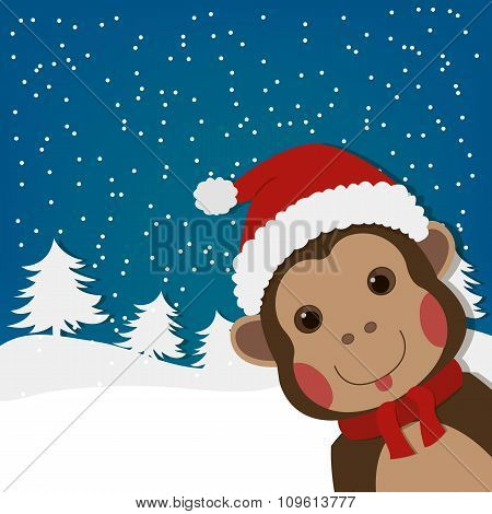 funny monkey, new year and  christmas greeting card, cartoon character illustration