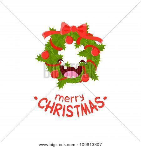 Wreath Vector Cheerful Christmas card