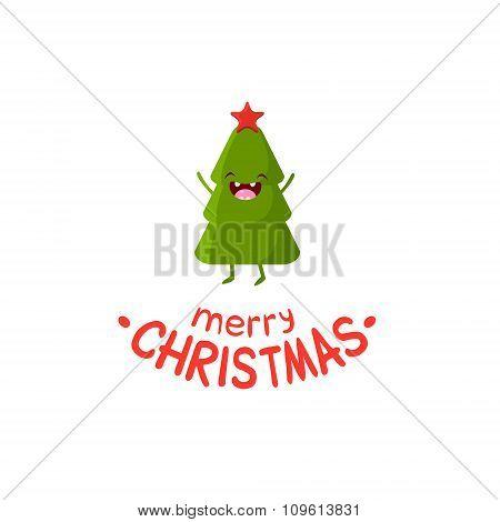 Tree Vector Cheerful Christmas card