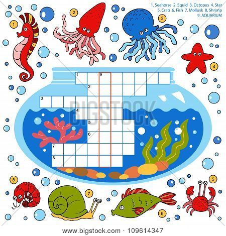 Color Crossword, Education Game For Children About Fish