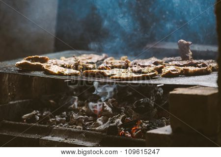 Pork Meat Chops On Barbecue
