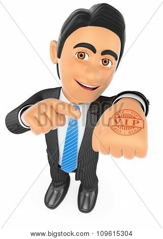 3D Businessman With Hand Stamp Vip