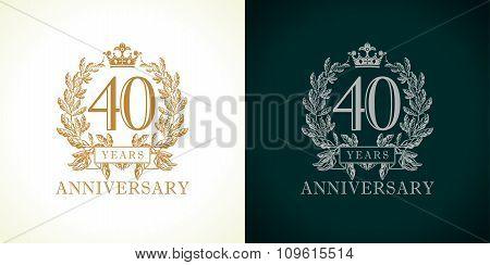 40 anniversary luxury logo.