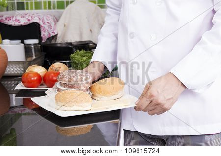 Chef Presented Ingredients Or Hamburger