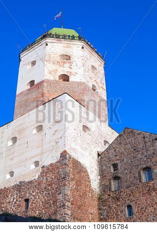 Tower Of Vyborg Castle With Tourists