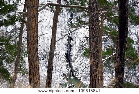 Agura waterfall in the mountains