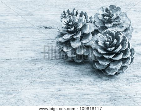 Dry Cone Pine On Wooden Background