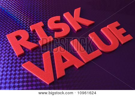 Risk Value Word On Blue Neon Background
