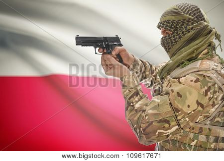 Male In Muslim Keffiyeh With Gun In Hand And National Flag On Background - Poland