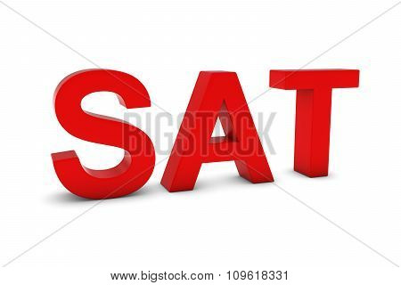Sat Red 3D Text - Saturday Abbreviation Isolated On White
