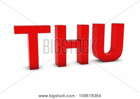 Thu Red 3D Text - Thursday Abbreviation Isolated On White