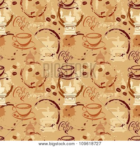Seamless Pattern With Coffee Cups, Beans, Grinder, Coffee Stain, Calligraphic Text Coffee. Backgroun