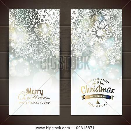 Snowflake Backgroundset Of Christmass Banners.
