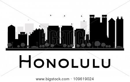 Honolulu City skyline black and white silhouette. Vector illustration. Simple flat concept for tourism presentation, banner, placard or web site. Business travel concept. Cityscape with landmarks