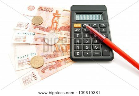 Money, Calculator And Red Pen