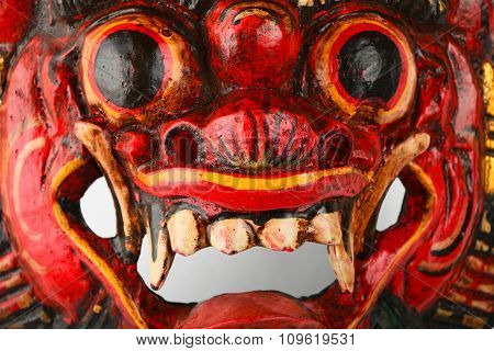 Asian Traditional Wooden Red Painted Demon Mask