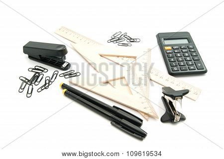Stapler, Wooden Ruler And Other Stationery