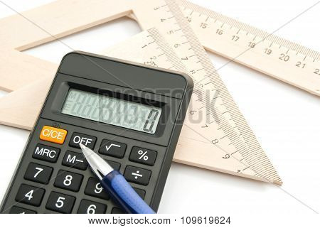 Calculator, Pen And Ruler