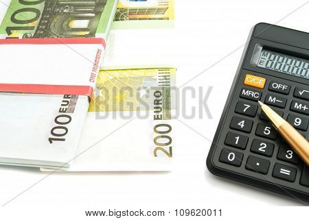 Calculator And Euros Banknotes On White