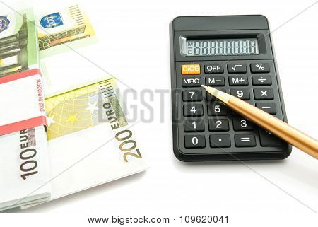 Calculator And Euros Banknotes