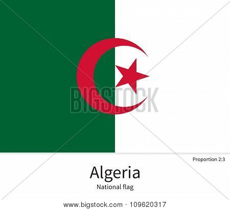 National flag of Algeria with correct proportions, element, colors