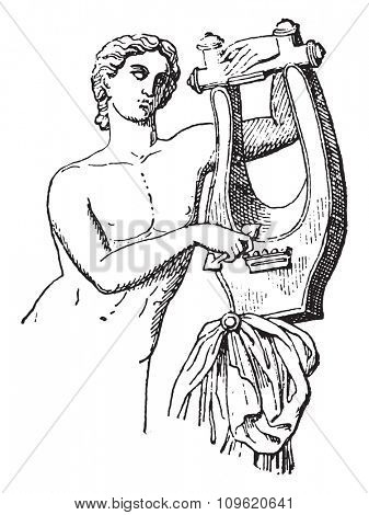 Lyre, vintage engraved illustration. Private life of Ancient Antique family 1881.
