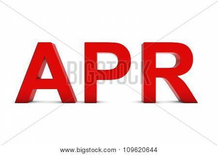 Apr Red 3D Text - April Month Abbreviation On White