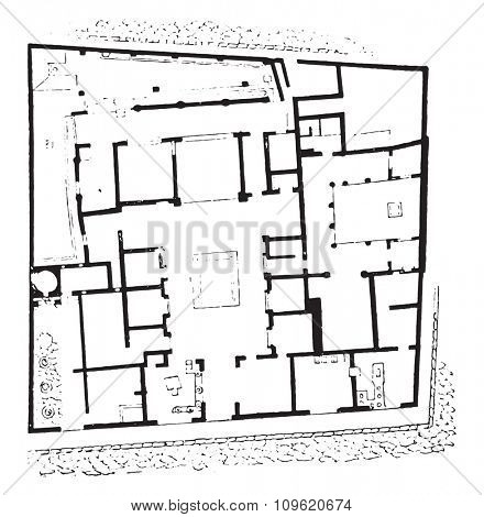 Plan of the house of Sallust, vintage engraved illustration. Private life of Ancient-Antique family-1881.