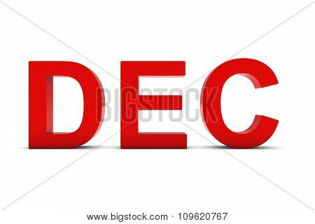 Dec Red 3D Text - December Month Abbreviation On White