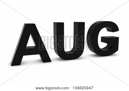Aug Black 3D Text - August Month Abbreviation On White
