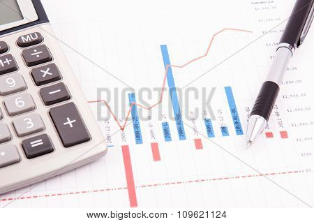 Chart, Calculator And Pen