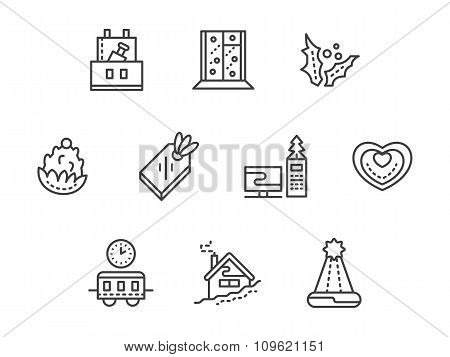 New Year at work black line vector icons set