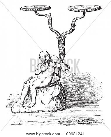 Silenus (holder light), vintage engraved illustration. Private life of Ancient-Antique family-1881.