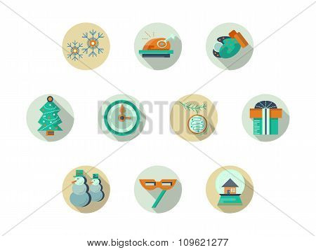 Christmas attributes round flat vector icons set