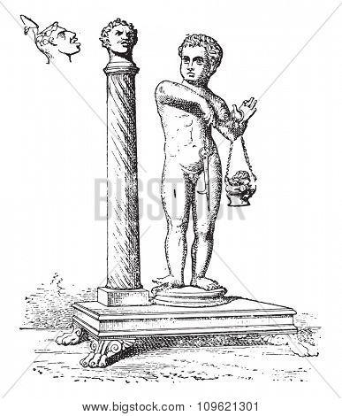 Candelabra column, vintage engraved illustration. Private life of Ancient-Antique family-1881.