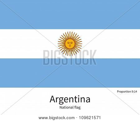 National flag of Argentina with correct proportions, element, colors