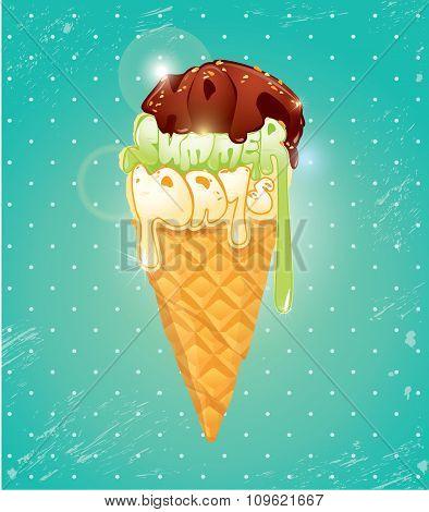Vanilla Ice Cream Cone With Chocolate Glaze. The Top Of Icecream Made Of Calligraphic Words Hot Summ