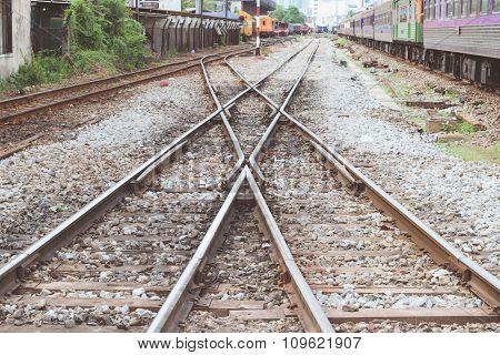 Railroad Tracks Crossing , Vintage Style