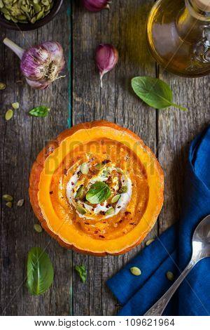 Pumpkin Cream Soup In Pumpkin